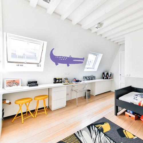 Autocollant violet pour chambre d'enfant grand crocodile décoratif