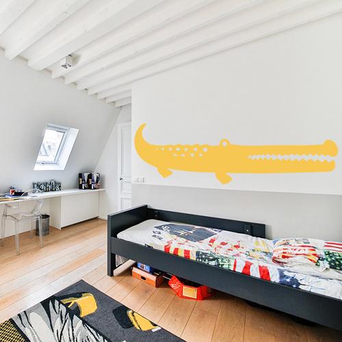 Adhésif grand crocodile jaune pour décoration chambre d'enfant