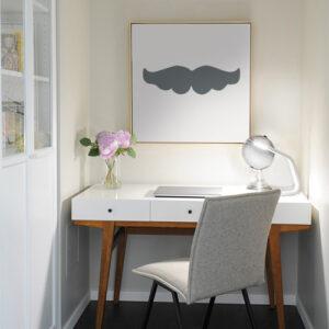 Sticker adhésif moustache grise pour déco de mur de bureau