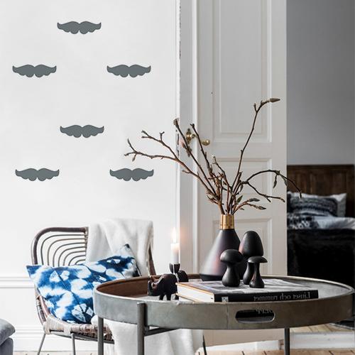 Autocollant pour mur blanc de salon moustache grise décoration