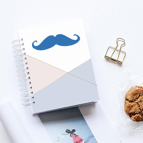 Sticker adhésif moustache bleu marine pour déco d'agenda