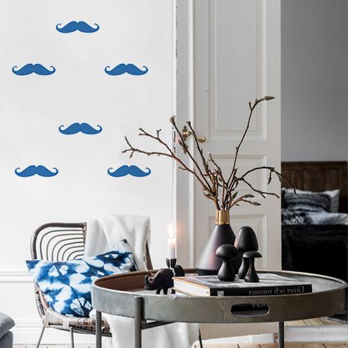Autocollant décoratif pour mur blanc de salon motif moustache bleu marine