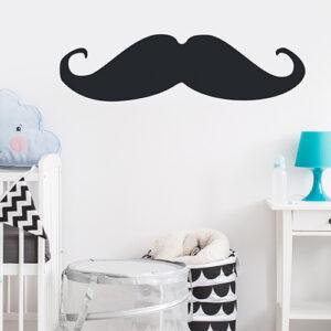 Sticker autocollant noir moustache pour déco mur blanc de chambre de bébé