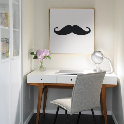 Autocollant déco moustache noir pour cadre déco de bureau