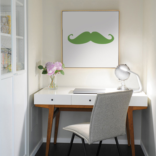 Sticker adhésif vert pour déco de cadre de bureau en forme de moustache