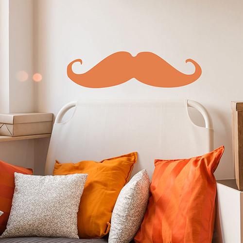 Sticker autocollant pour décoration salon moustache orange