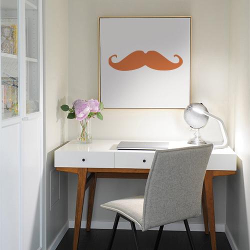 Adhésif moustache orange pour déco cadre de bureau