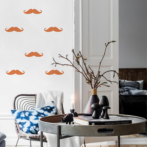 Autocollant pour mur blanc de salon décoration moustache orange