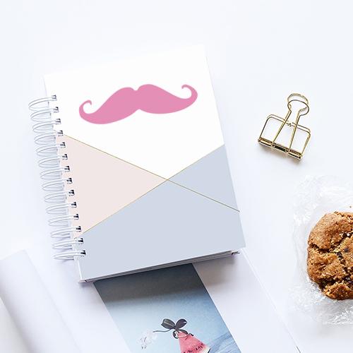 Autocollant décoratif pour agenda moustache rose