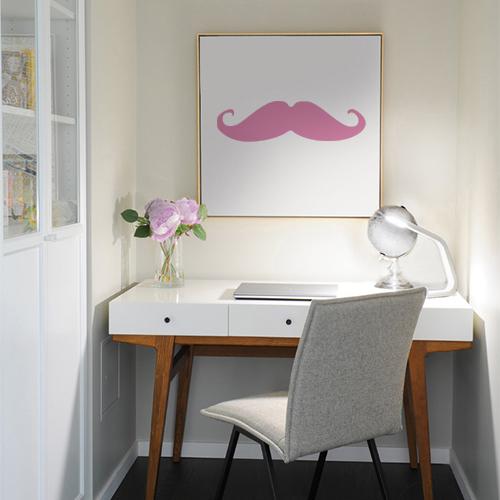 Adhésif en forme de moustache rose décoration de cadre de bureau