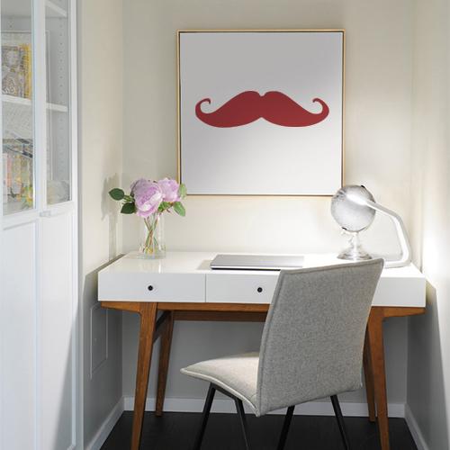 Adhésif pour cadre de bureau moustache rouge