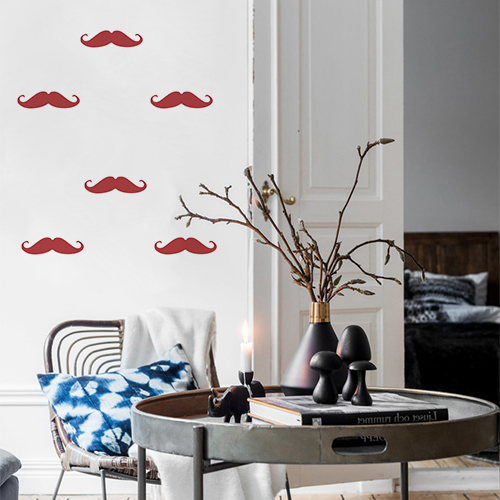 Autocollant moustache rouge pour déco de mur de salon