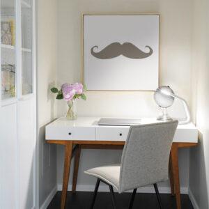Sticker adhésif pour déco de cadre de bureau moustache taupe