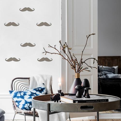 Autocollant taupe en forme de moustache pour déco de mur de salon