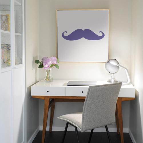 Sticker adhésif moustache violette pour déco de cadre de bureau