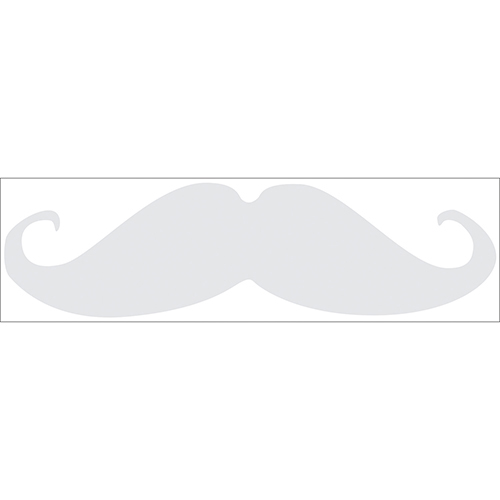 Sticker adhésif décoratif gris clair pour déco moustache pour enfants