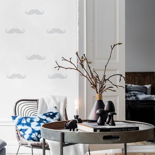 Adhésif pour déco mur de salon en forme de moustache grise clair