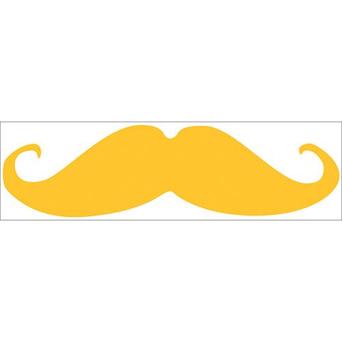 Sticker adhésif jaune en forme de moustache pour déco de chambre d'enfant