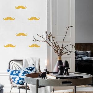 Sticker autocollant moustache jaune pour déco de mur de salon