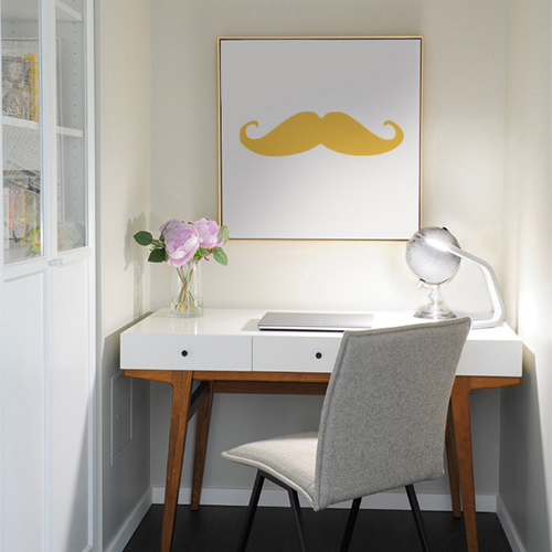 Autocollant moustache jaune pour déco cadre de bureau