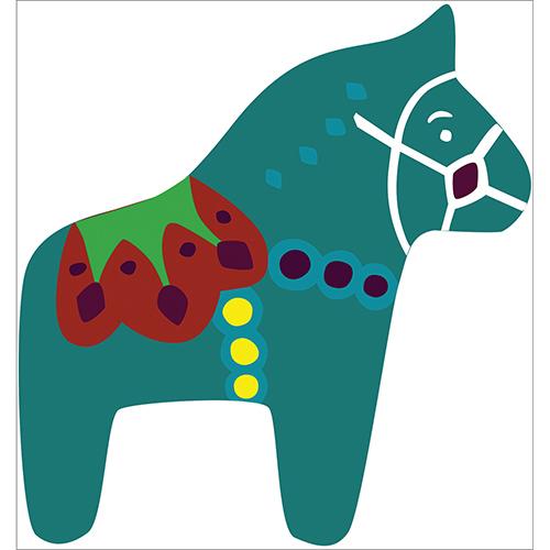 Sticker adhésif cheval vert multicouleurs pour déco mur de chambre d'enfant