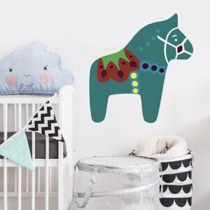 Sticker autocollant déco pour chambre de bébé cheval vert multicouleurs