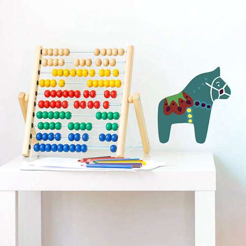 Adhésif vert multicouleurs pour mur de chambre de bébé cheval