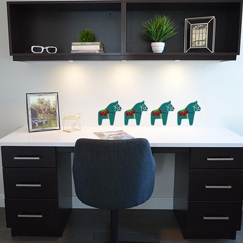 Autocollant décoration cheval vert multicouleurs pour mur de bureau moderne
