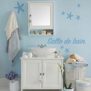 "Sticker adhésif déco moderne bleu ""salle de bain"" pour salle de bain"