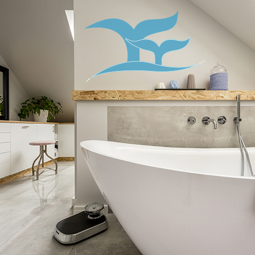 Adhésif décoration queue de poisson bleu pour salle de bain moderne