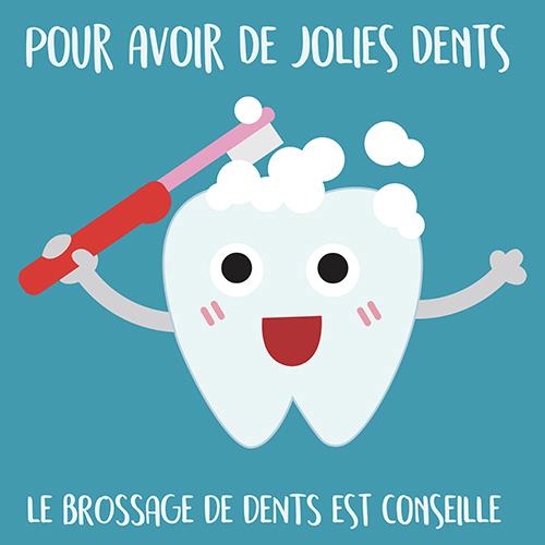 Sticker adhésif en faveur du brossage des dents affiche bleu