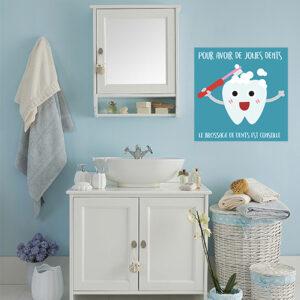 Sticker autocollant affiche bleu en faveur du brossage des dents pour salle de bain mur bleu