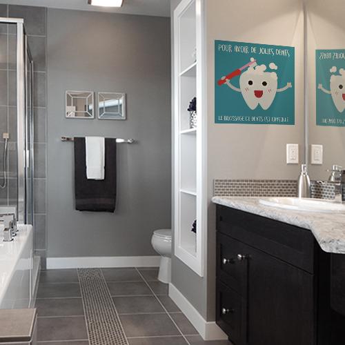 Autocollant pour salle de bain grise affiche bleu en faveur du brossage des dents