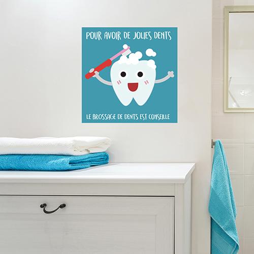Adhésif en faveur du brossage des dents pour déco de salle de bain blanche