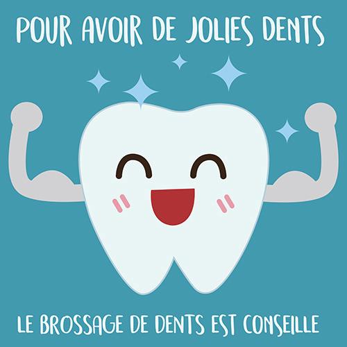 Sticker autocollant affiche bleu déco pour salle de bain sur le brossage des dents