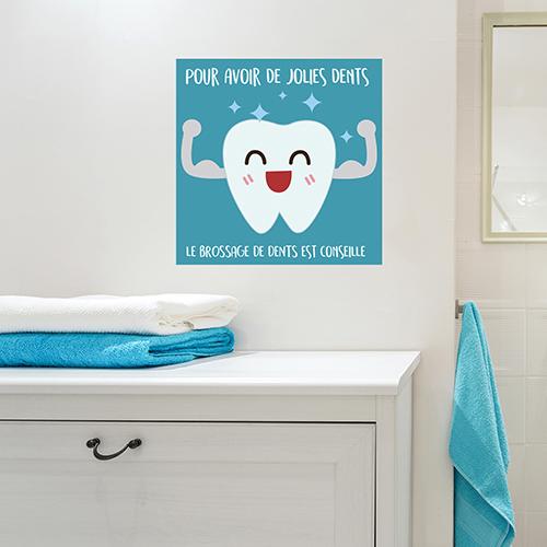 Sticker adhésif affiche bleu sur le brossage des dents pour déco de salle de bain