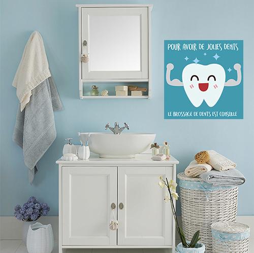 Adhésif pour salle de bain bleu affiche bleu sur le brossage des dents