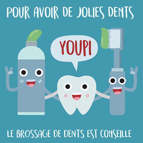 Sticker adhésif pour déco sur le brossage des dents affiche préventive bleu