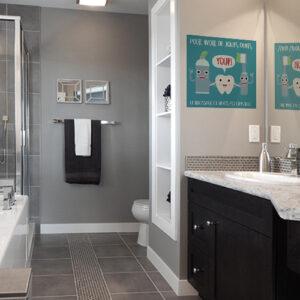 Adhésif sur le brossage des dents déco affiche préventive bleu pour salle de bain