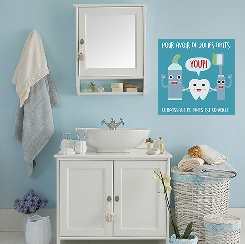 Autocollant préventif bleu sur le brossage des dents déco pour salle de bain moderne