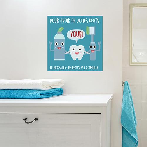 Sticker autocollant pour décoration de salle de bain sur le brossage des dents affiche préventive bleu