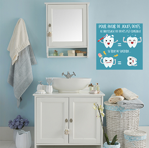 Adhésif pour le brossage des dents contre les sucreries déco affiche bleu pour salle de bain