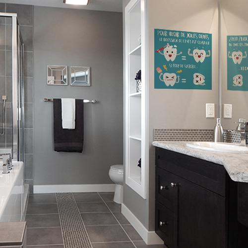 Autocollant contre les sucreries affiche décorative bleu pour salle de bain bleu