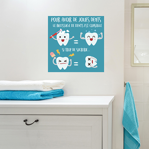 Sticker autocollant pour déco salle de bain affiche bleu contre les sucreries et pour le brossage des dents