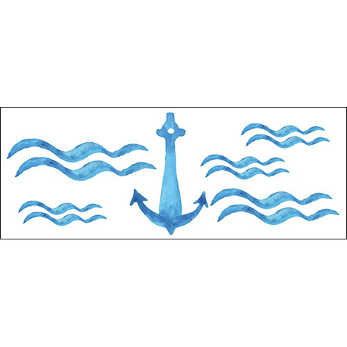 Sticker adhésif décoratif ancre marine bleu pour déco d'intérieur