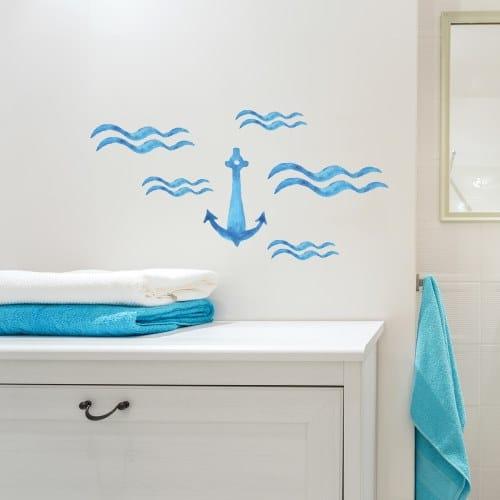 Ancre marine bleu avec vagues à l'aquarelle - sticker mer - déco marine
