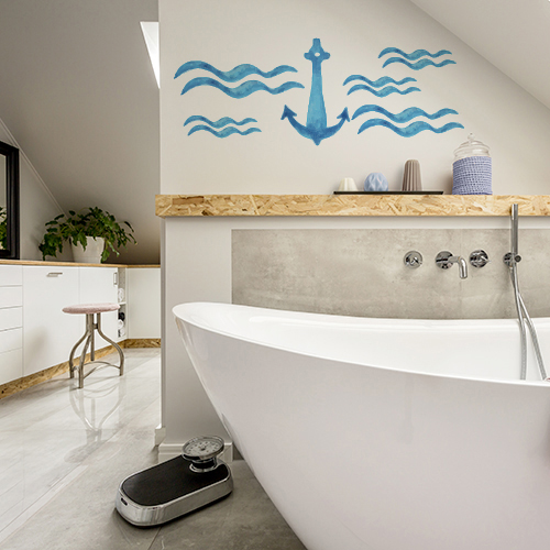 Sticker ancre bleue sur mur de salle de bain moderne et lumineuse