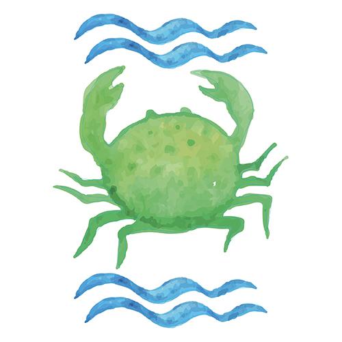 Sticker autocollant vert crabe à la mer pour déco de salle de bain pour enfants