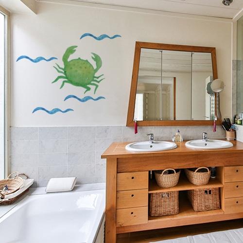 Stickers marin autocollants crabe pour votre salle de bain - Decor marin pour salle de bain ...
