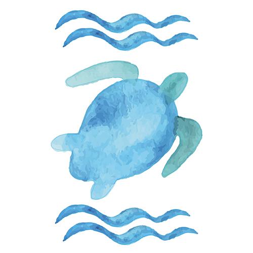 Sticker autocollant décoratif tortue bleu à la mer pour déco salle de bain